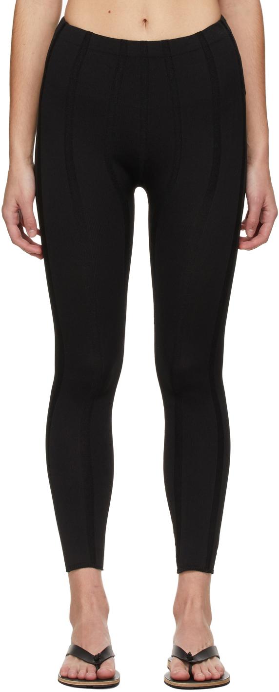 Black Indent Stripe Leggings
