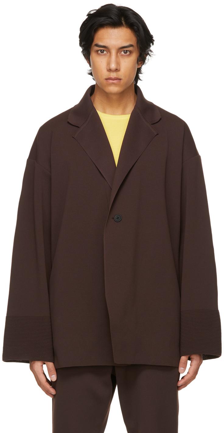 Brown Milan Rib Enwrap Jacket