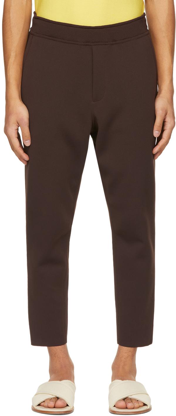 Brown Milan Rib Tapered Trousers