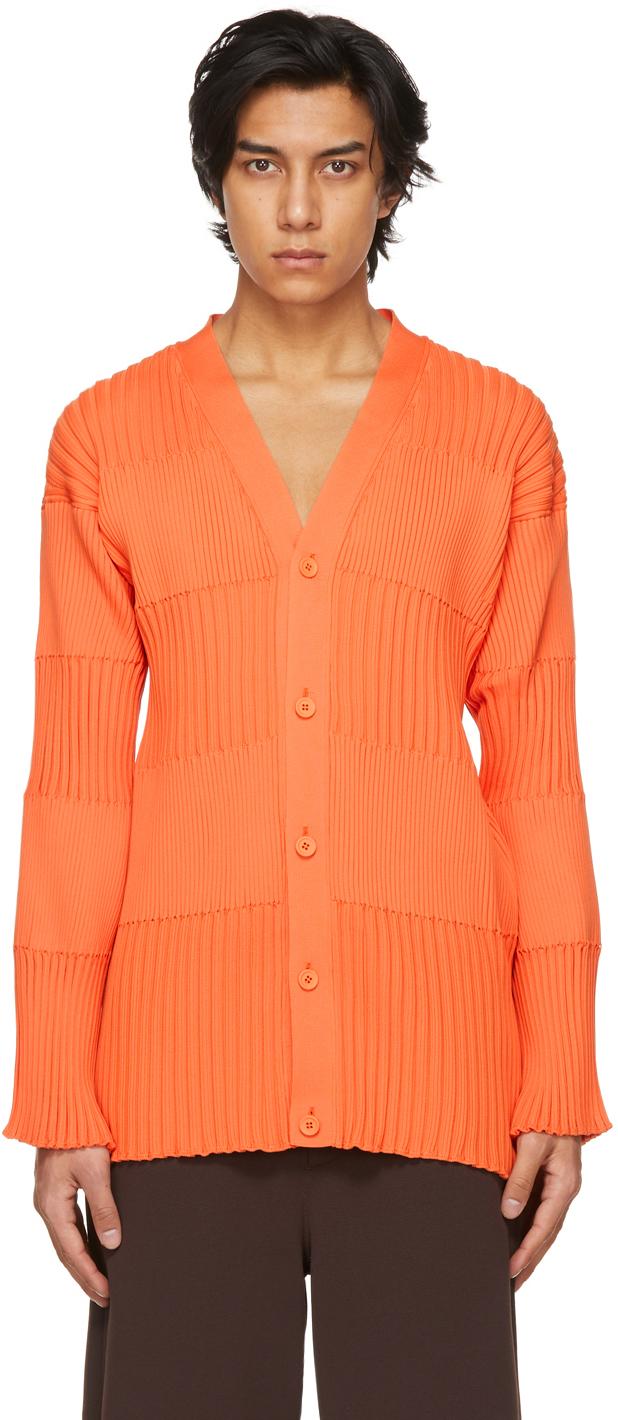 Orange Fluted Cardigan