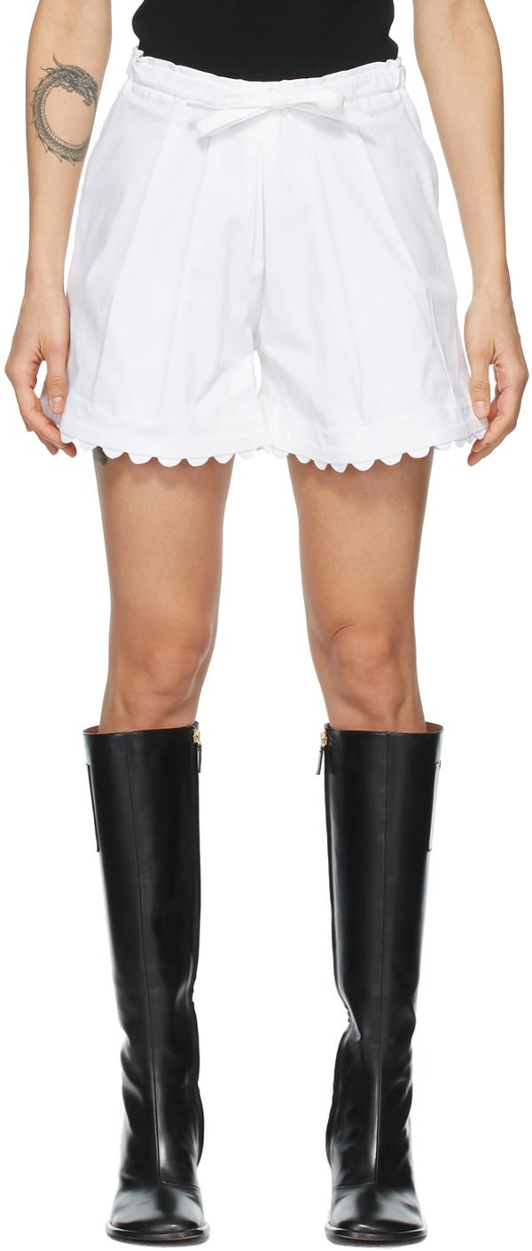 White Elsie Scalloped Shorts
