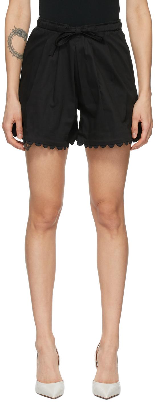 Black Scalloped Elsie Shorts