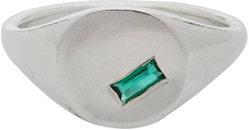 Seb Brown 银色 Sideways Emerald Baguette 图章戒指
