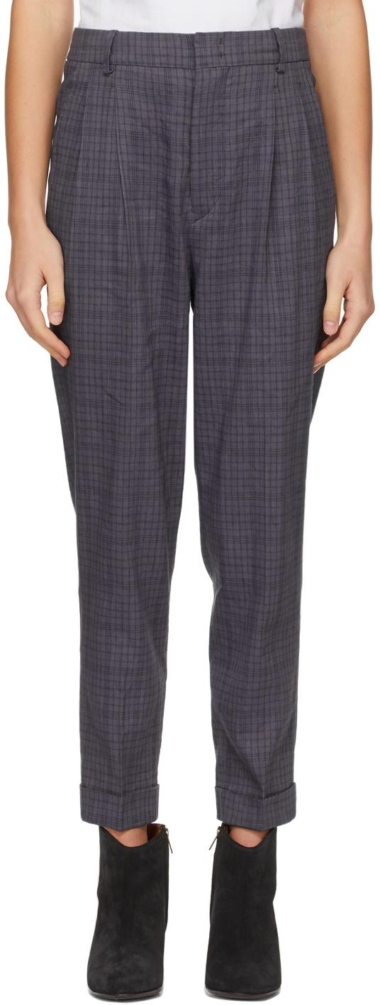 Isabel Marant Etoile Purple Check Lowea Trousers