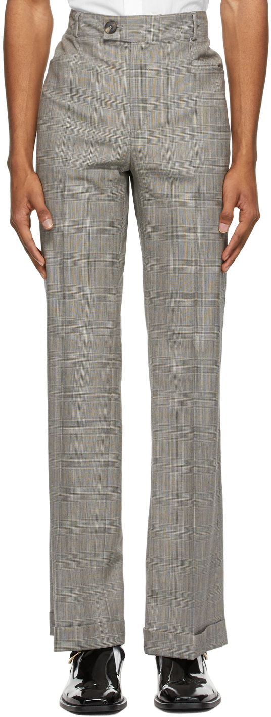 Grey & Brown Houndstooth Flare Trousers