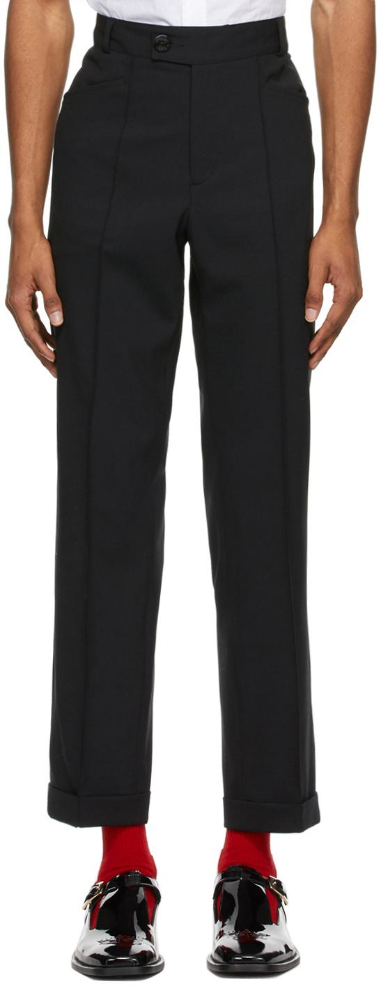 Black Virgin Wool Slim-Fit Trousers