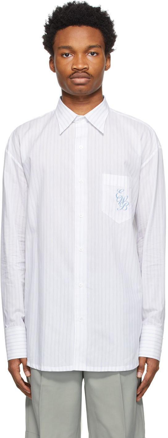 White & Blue Pinstripe Classic Shirt