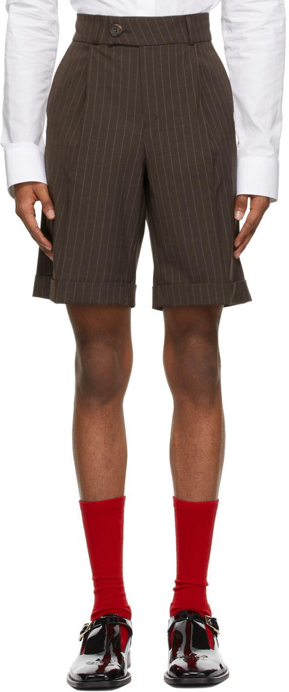 Brown Pinstripe Tailored Shorts