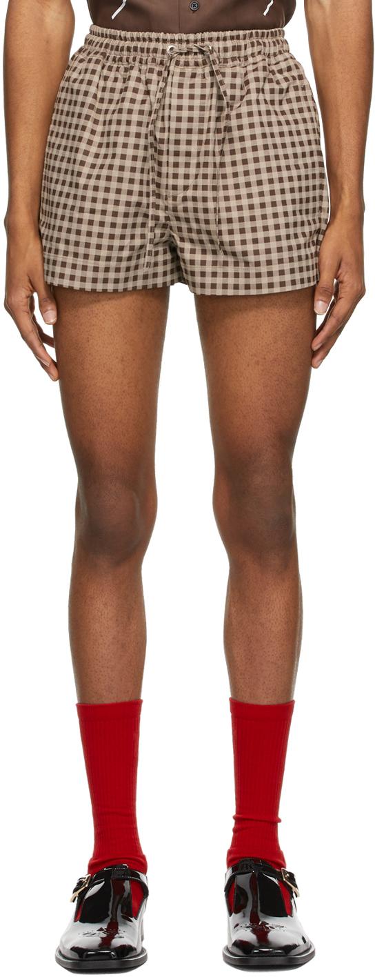 Brown Check Elastic Waist Shorts