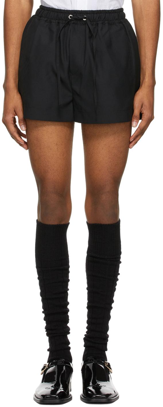 Black Elastic Waist Shorts
