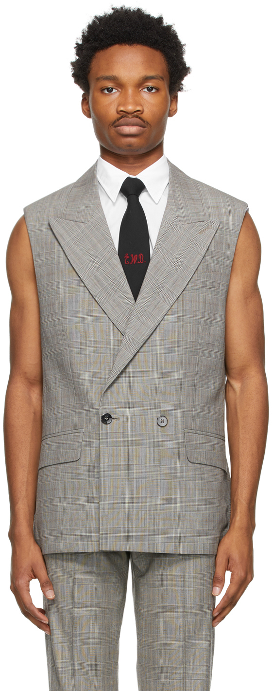 Grey & Brown Houndstooth Sleeveless Double-Breasted Blazer