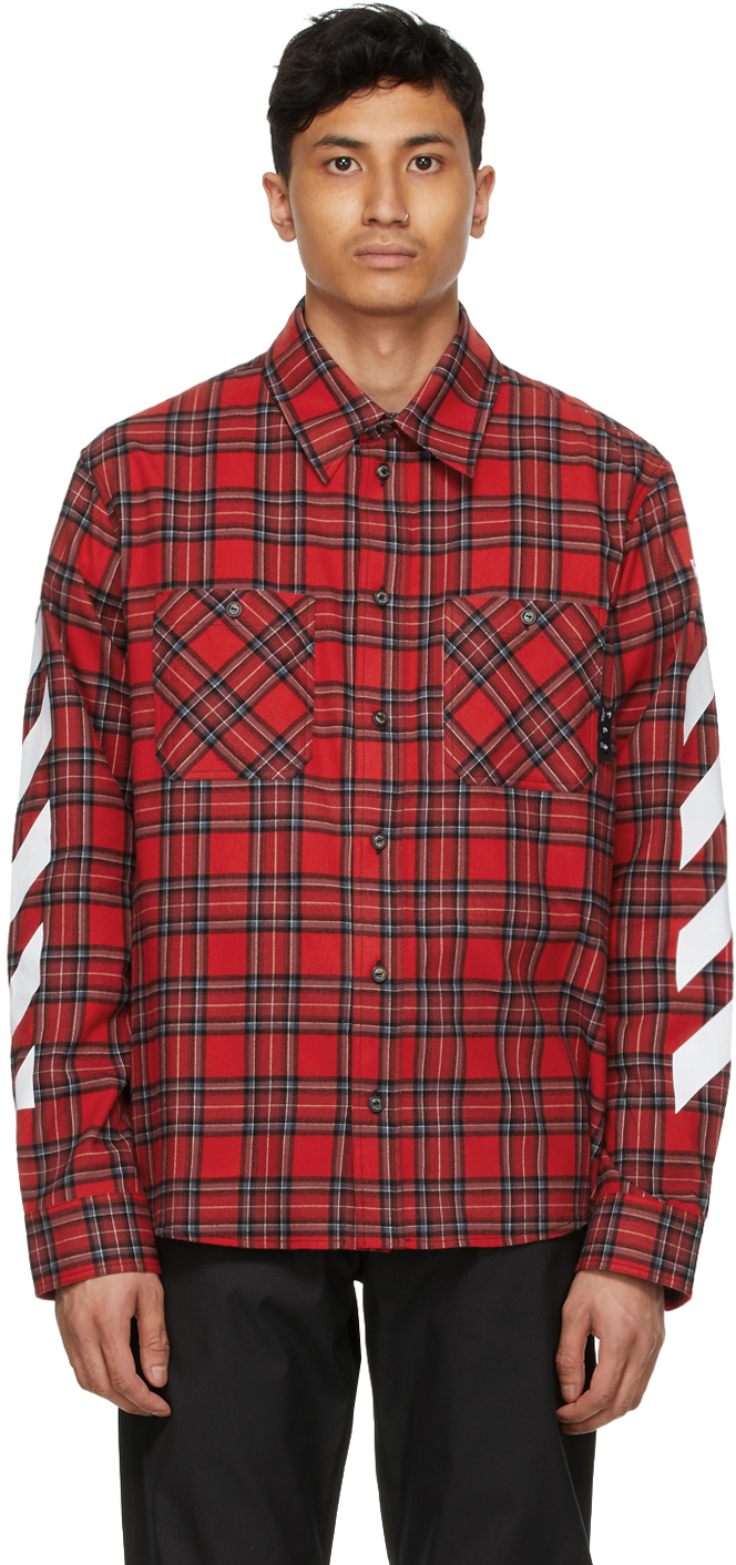 Off-white Check Flannel Button-up Shirt In Red White