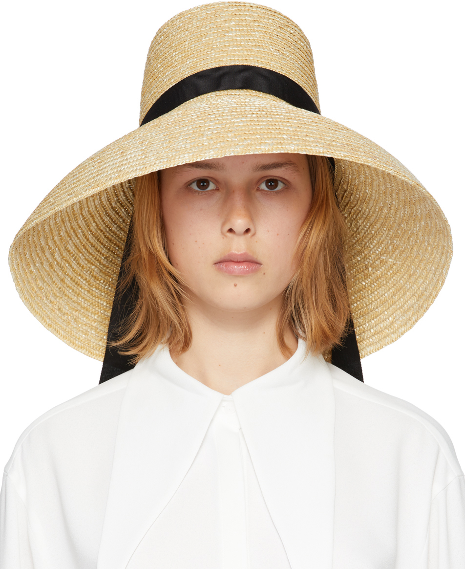 KIMHEKIM 米色缎带草帽