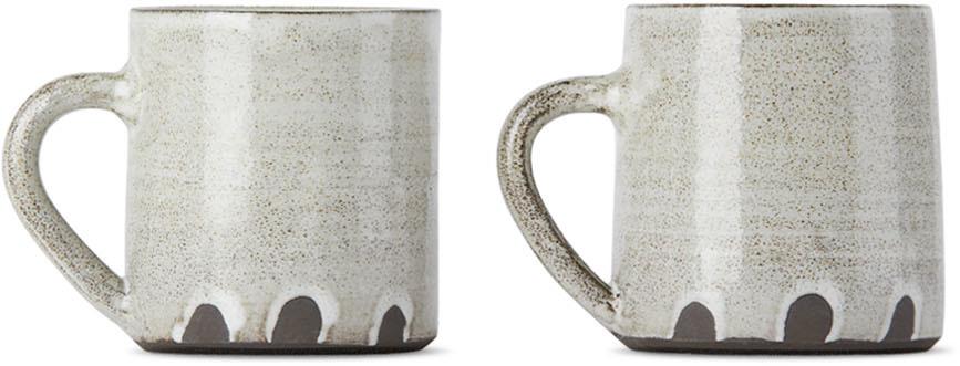 SSENSE Exclusive Black & White Fingerprint Mug Set