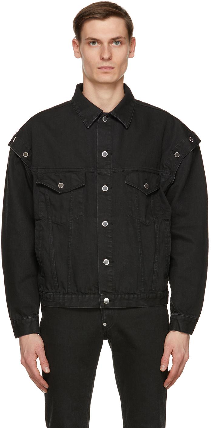 Black Denim Shoulder Button Jacket