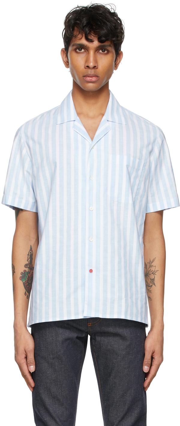 Isaia 蓝色 & 白色 Camp Collar 条纹短袖衬衫
