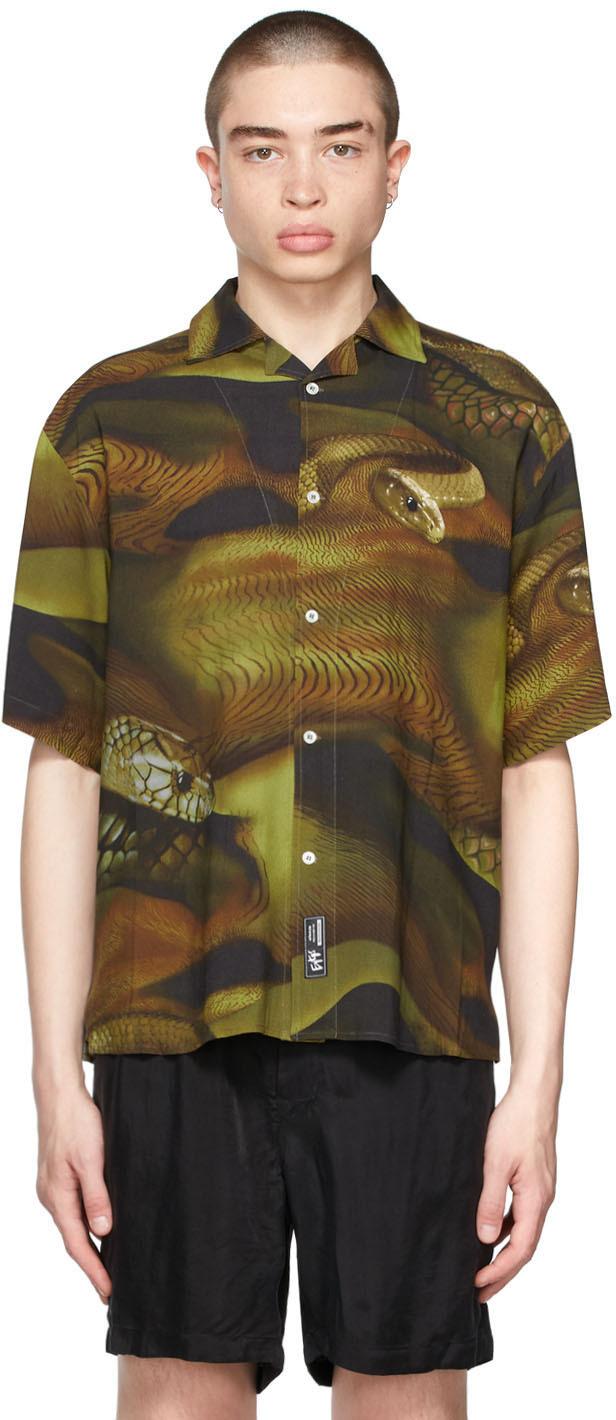 Khaki & Black Lizard Alonzo Bowling Shirt