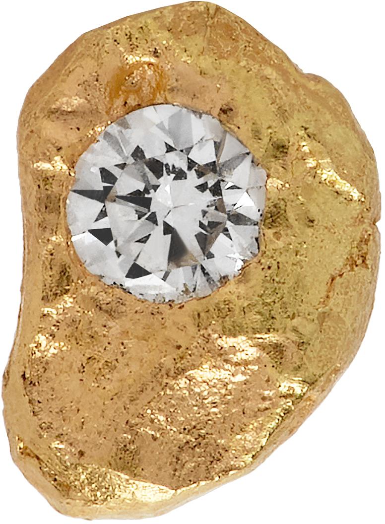 Gold Solitaire VVS Diamond Iman Single Earring