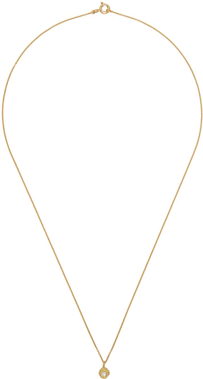 Gold Solitaire VVS Diamond Small Iman Necklace
