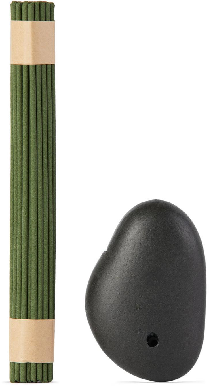 Stone Incense Burner & Green Tea Incense Set