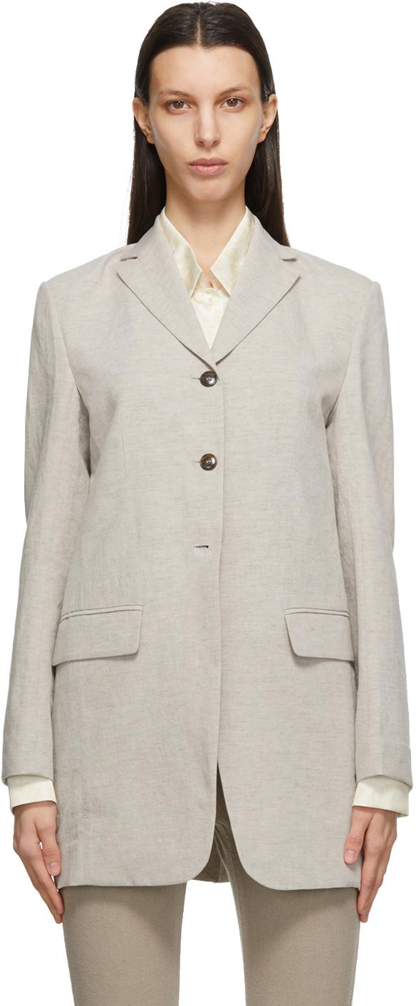 Taupe Linen Classic Blazer