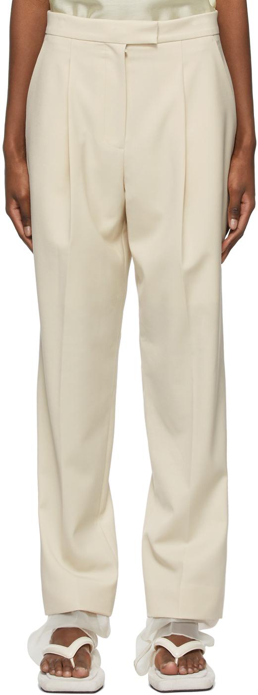 Beige Wool Layered Trousers