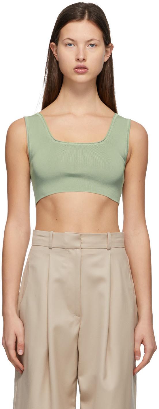 Green Knit Crop Tank Top