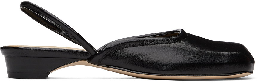 Black Squared Toe Slippers