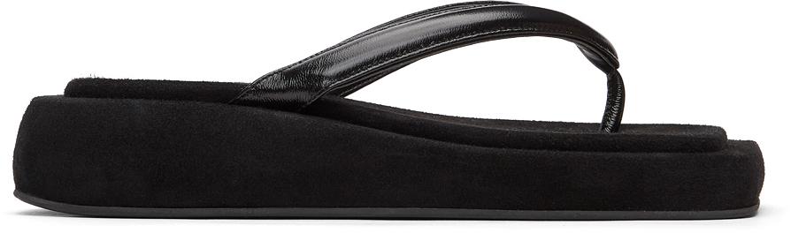 Black Platform Flip Flop Sandals