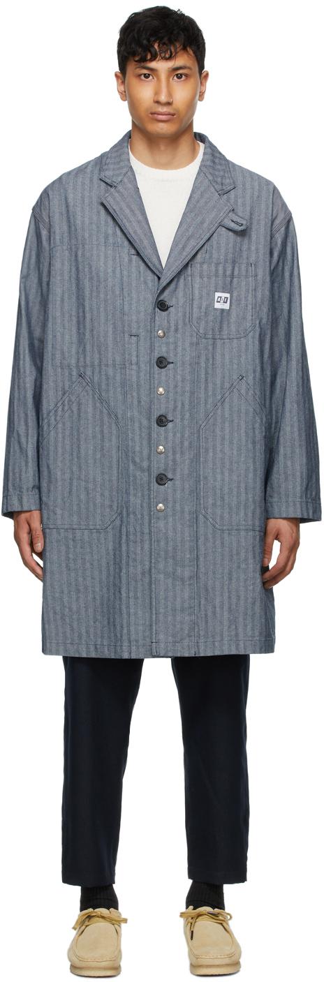 AïE Blue Denim Herringbone Coat 211668M176021