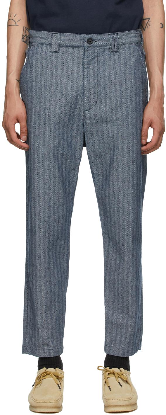 AïE Blue Denim Herringbone BNG Trousers 211668M191007