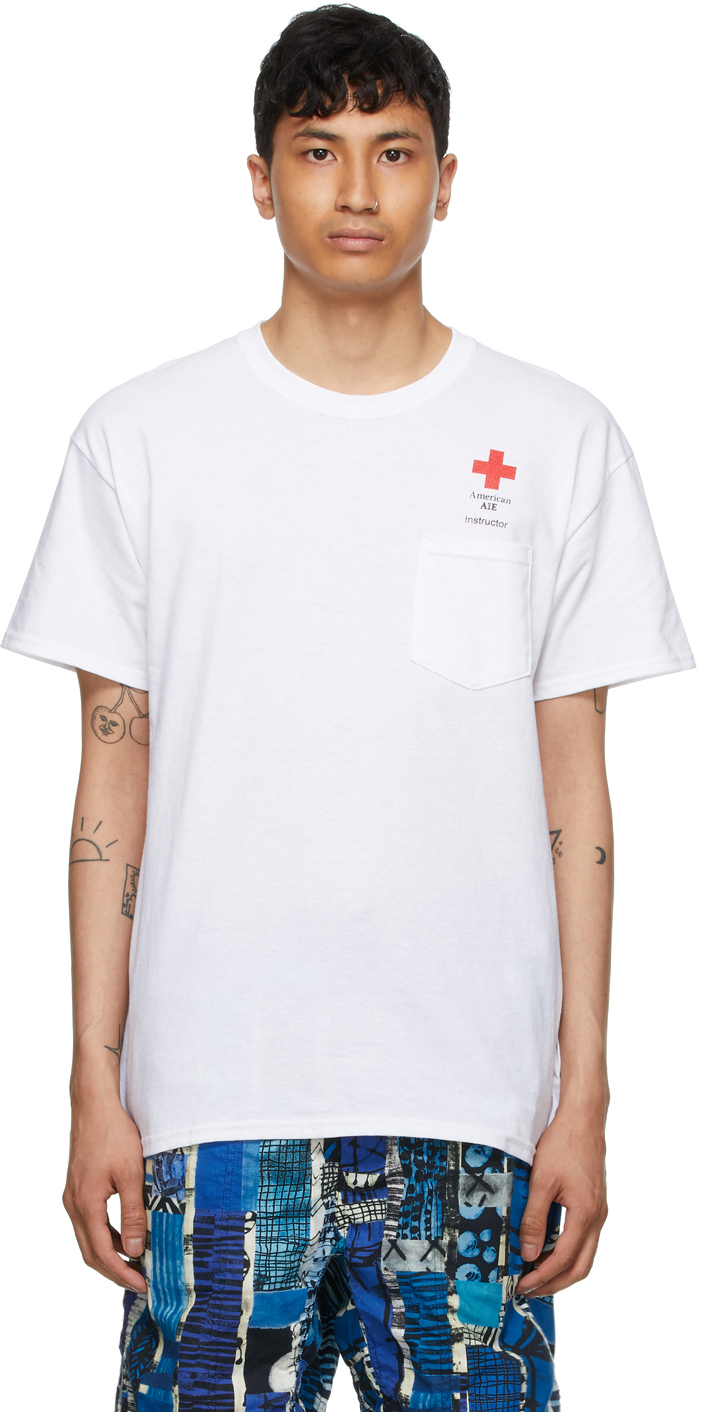 AïE White Cross Pocket T Shirt 211668M213001