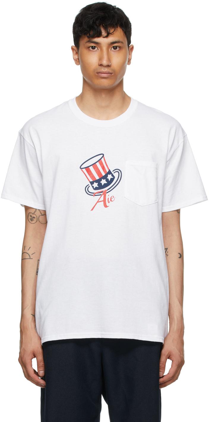 AïE White Printed Pocket T Shirt 211668M213002