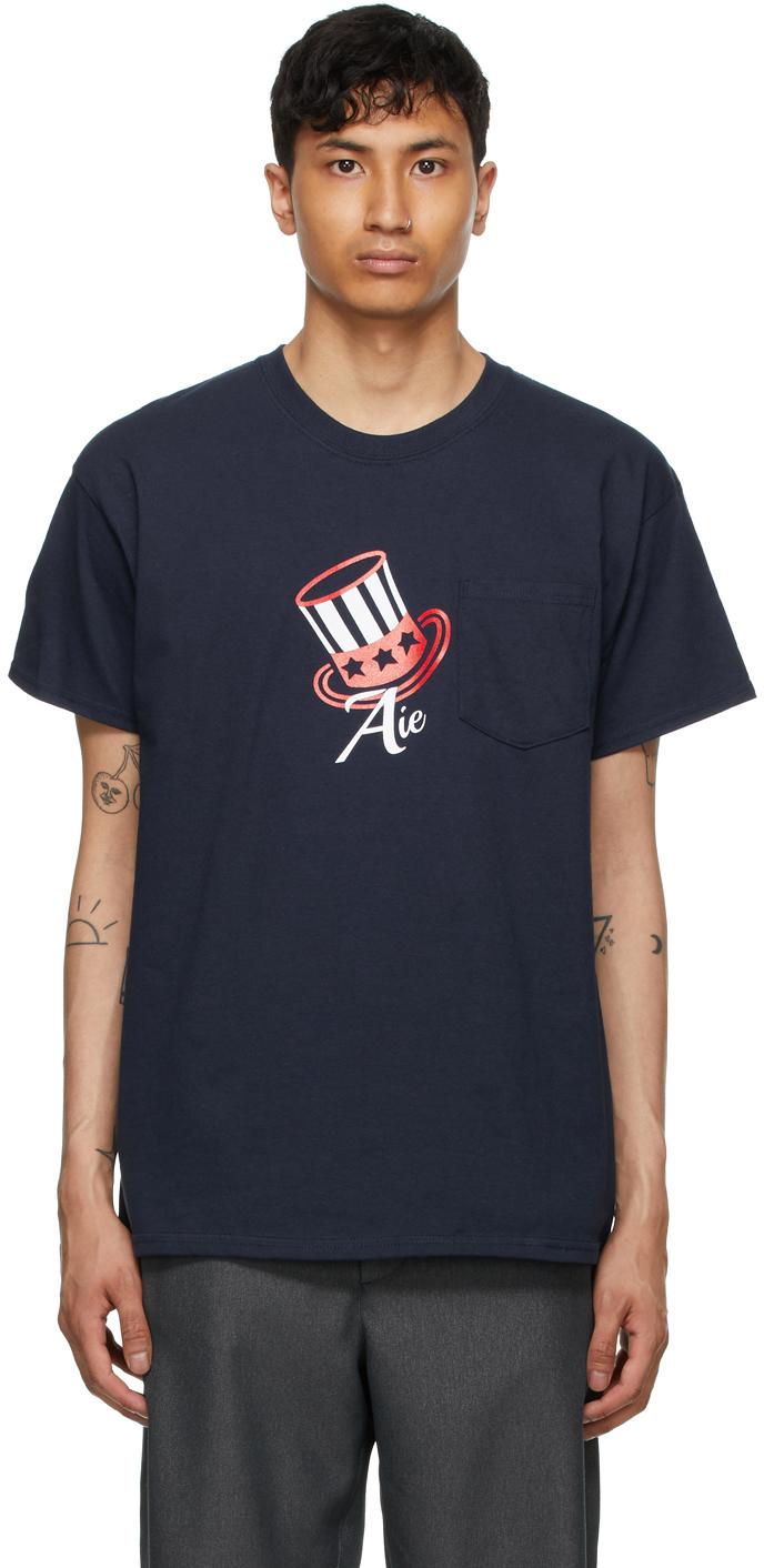 AïE Navy Printed Pocket T Shirt 211668M213003
