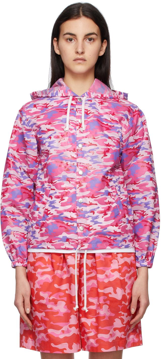 Comme des Garçons Girl Pink & Blue Camo Hooded Jacket