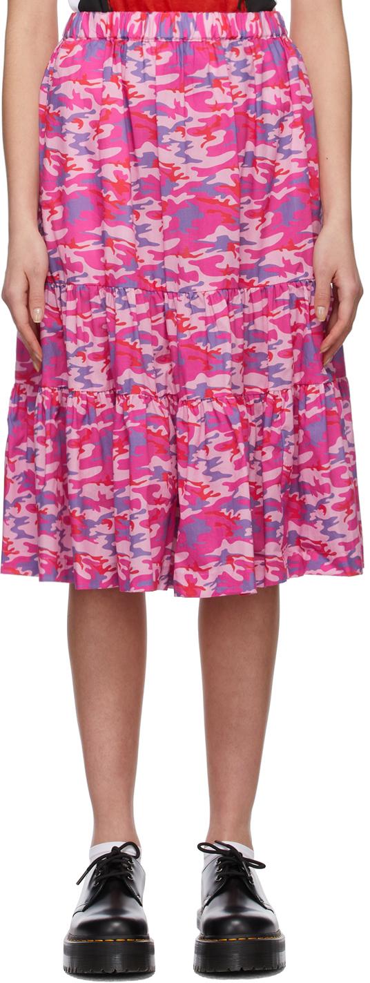 Comme des Garçons Girl Pink & Blue Camo Tiered Skirt