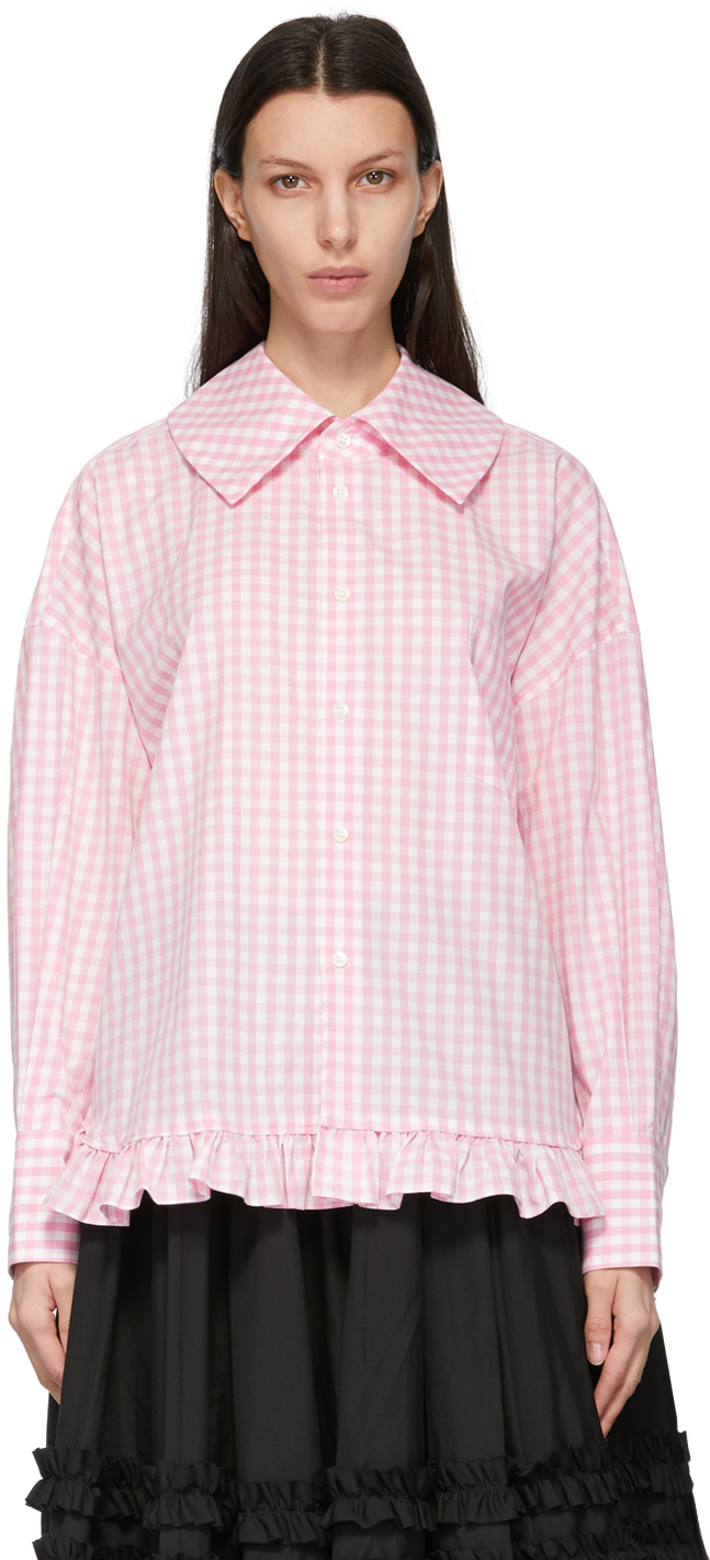 Comme des Garçons Girl Pink Check Square Collar Shirt
