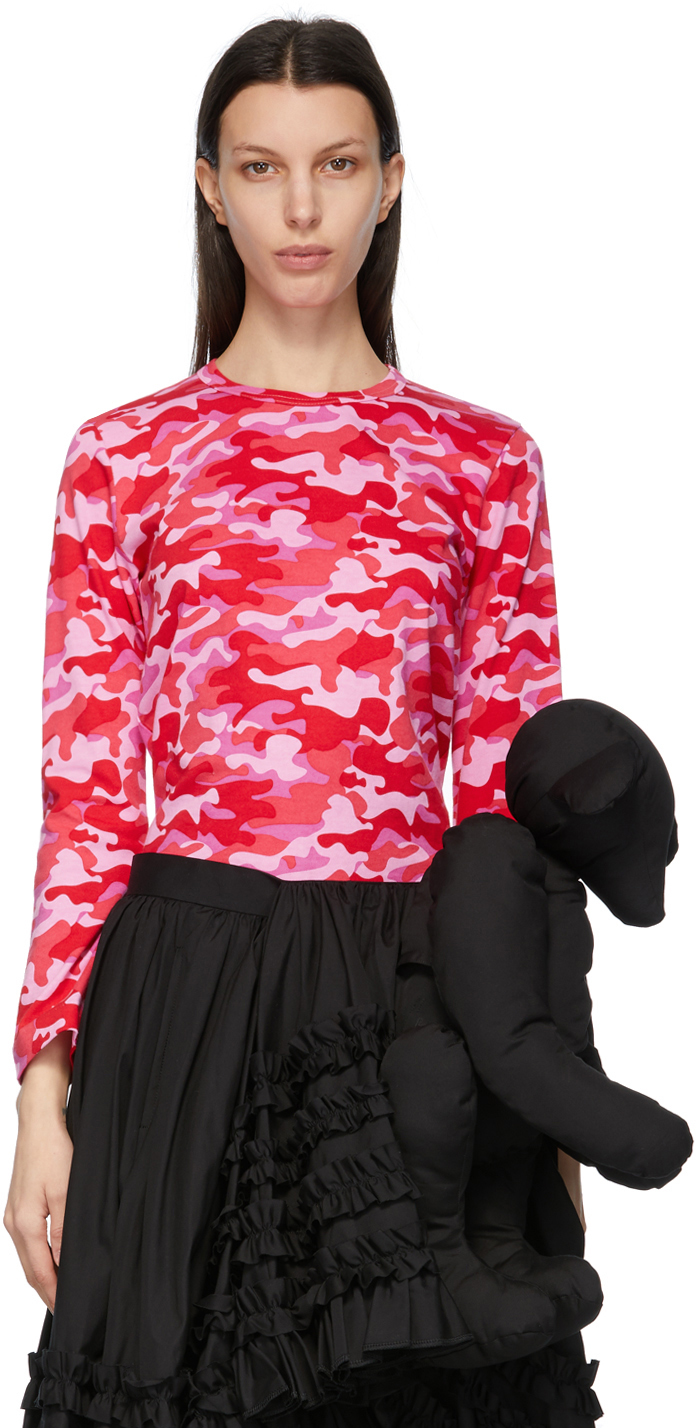 Comme des Garçons Girl Pink Camo Long Sleeve T-Shirt