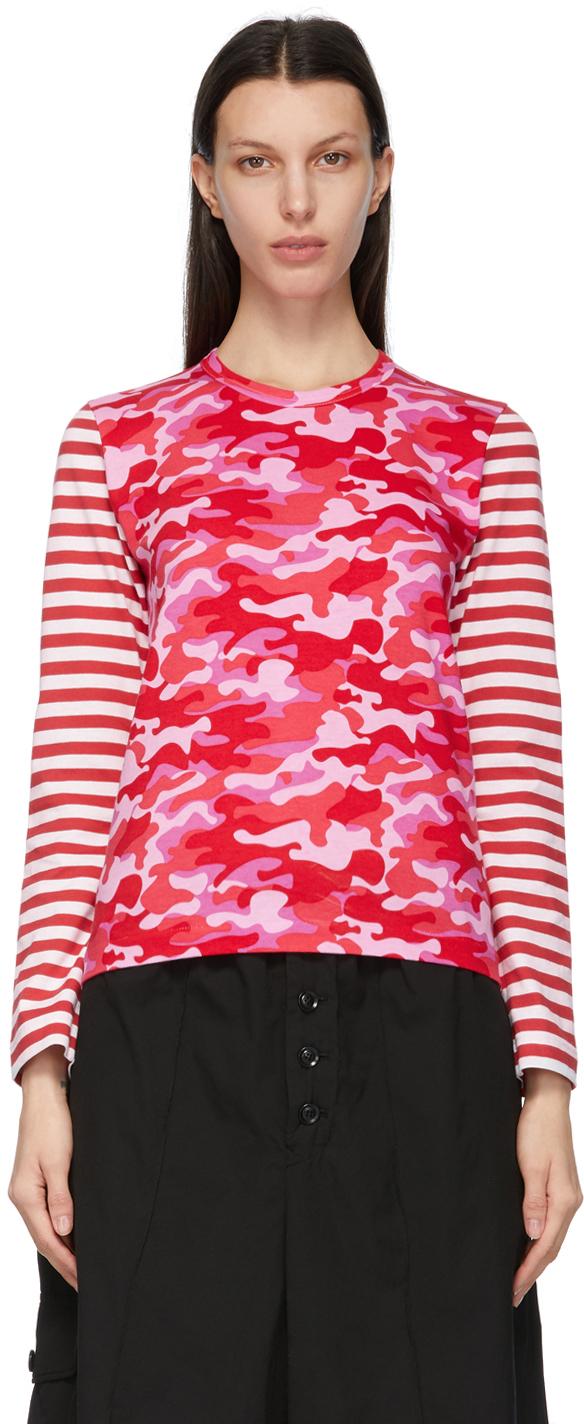 Comme des Garçons Girl Pink Camo & Stripe Long Sleeve T-Shirt