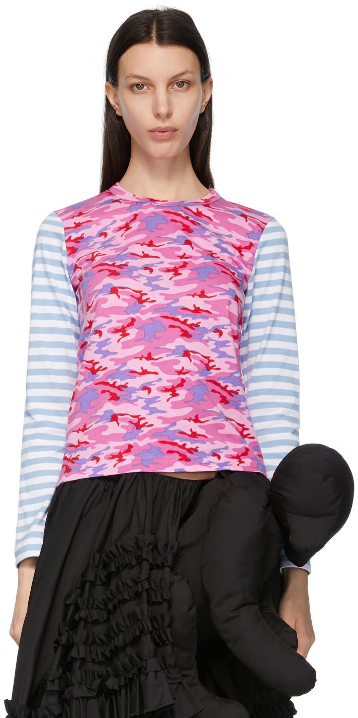 Comme des Garçons Girl Blue Camo & Stripe Long Sleeve T-Shirt