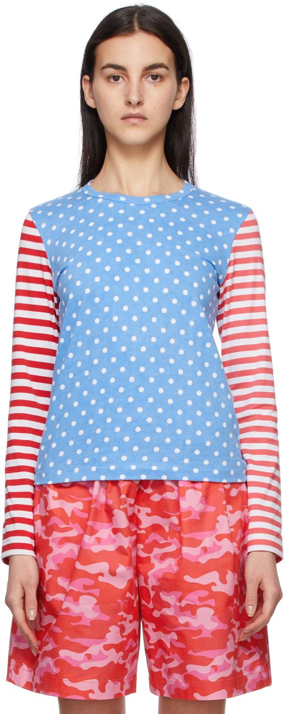 Comme des Garçons Girl Blue & Red Polka Dot & Stripe Long Sleeve T-Shirt