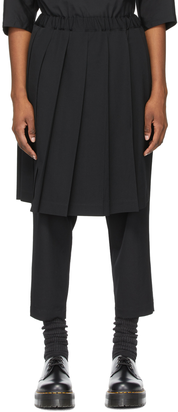 Comme des Garçons Comme des Garçons Black Wool Pleated Skirt Trousers