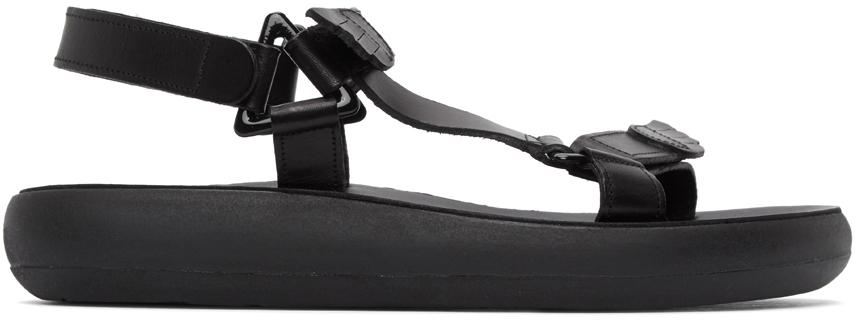 Ancient Greek Sandals Black Poria Sandals