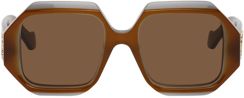 Loewe Brown Rectangular Chunky Sunglasses