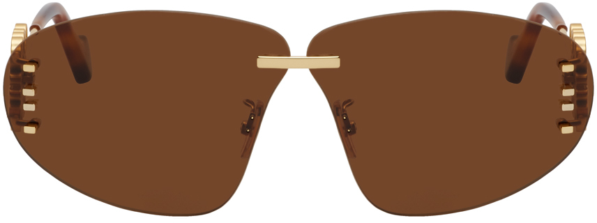 Gold & Brown Rimless Oval Anagram Sunglasses