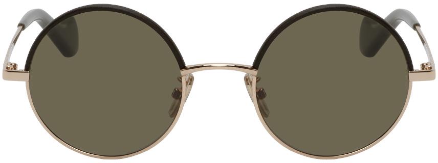 Loewe 金色 & 军绿色圆框太阳镜