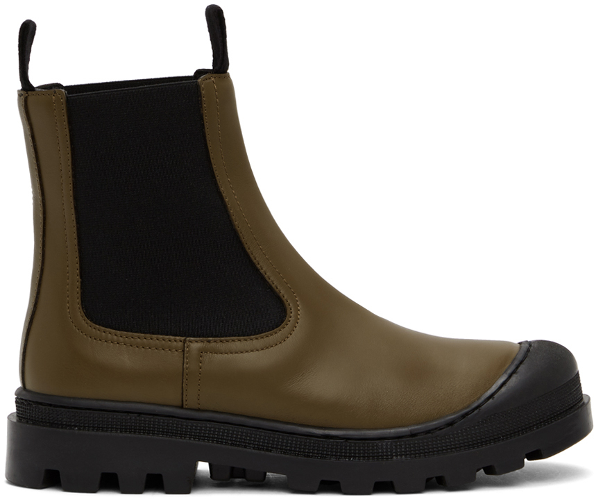Khaki Calfskin Chelsea Boots
