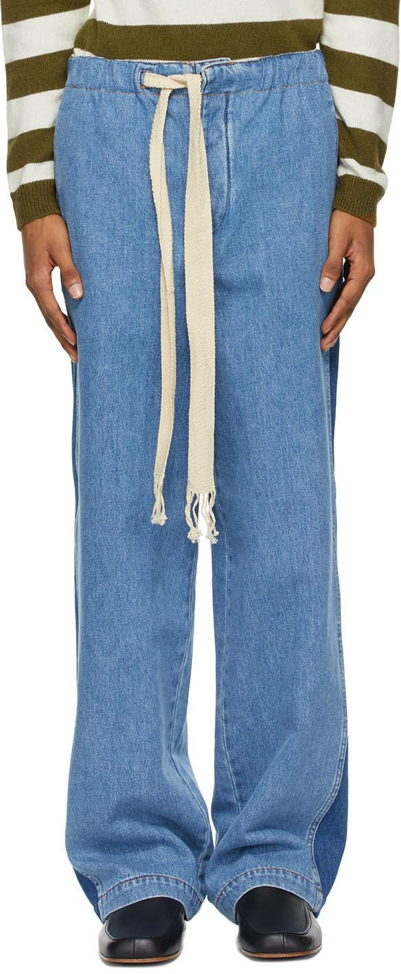 Loewe 蓝色抽绳牛仔裤
