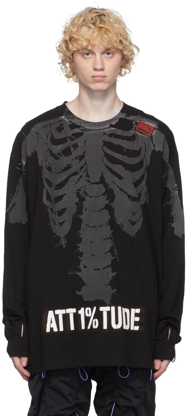 99 IS Black Reflective Skull Long Sleeve T Shirt 211689M213017