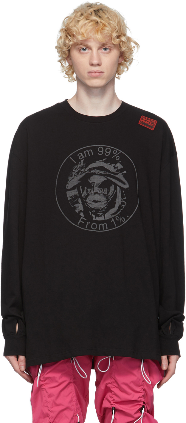 99 IS Black Our Face Long Sleeve T Shirt 211689M213022